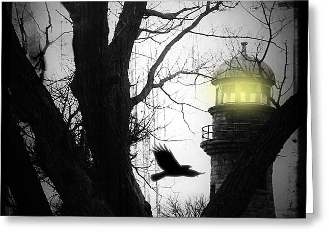 Lighthouse Greeting Card by Gothicolors Donna Snyder