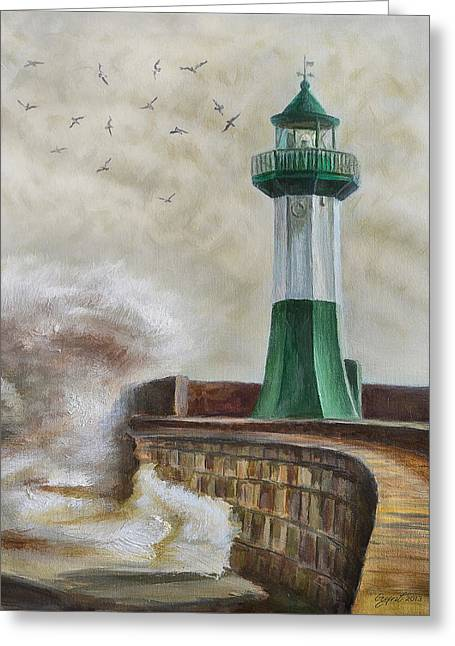 Lighthouse Greeting Card by Gynt Art
