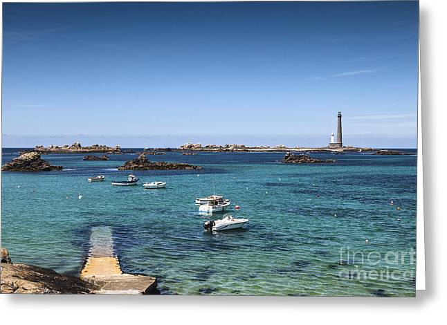 Lighthouse Ile Vierge Brittany France Greeting Card by Colin and Linda McKie