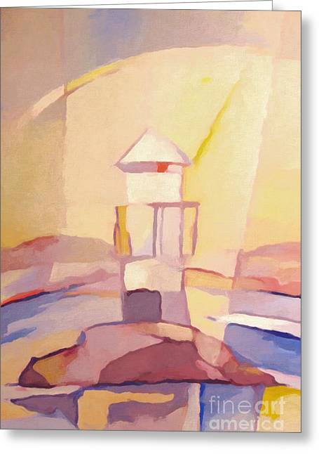 Evening Lights Greeting Cards - Lighthouse Impression Greeting Card by Lutz Baar