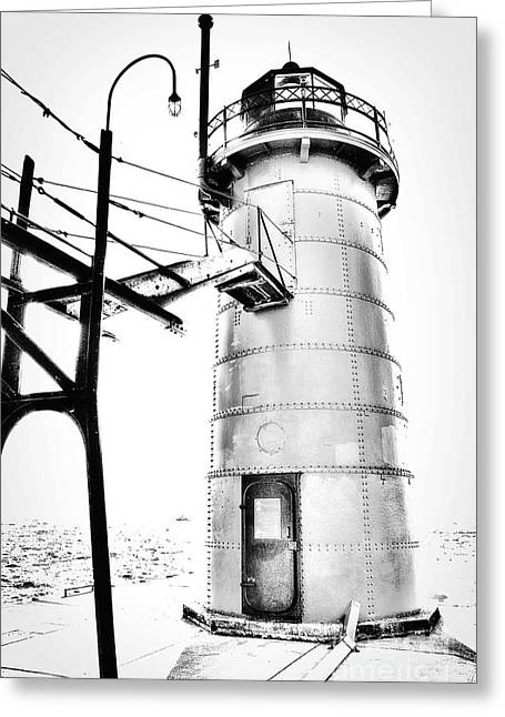 Midwestern Art Greeting Cards - Lighthouse in Black and White Greeting Card by Emily Kay