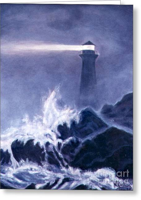 Lighthouse In Dark Greeting Card by Nancy Rucker