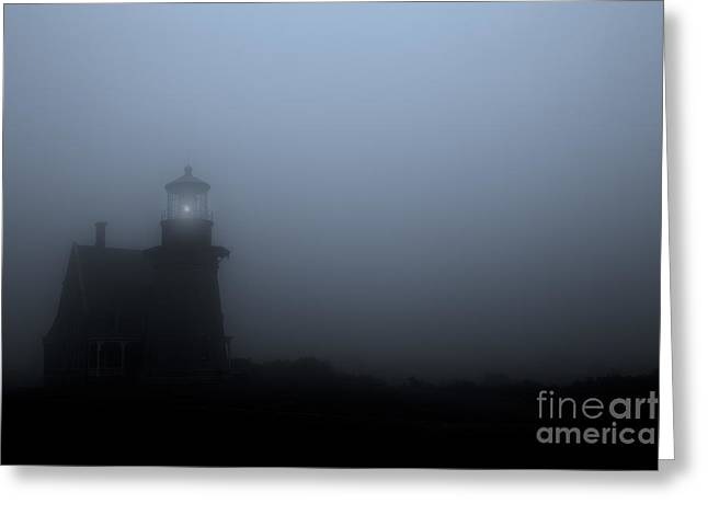 New England Lighthouse Greeting Cards - Lighthouse in Fog Greeting Card by Diane Diederich