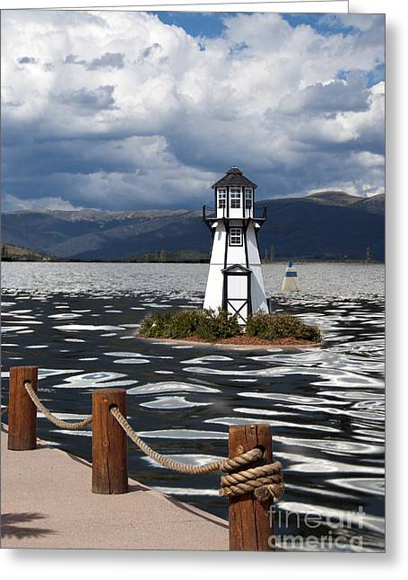 Buildings Greeting Cards - Lighthouse in Lake Dillon Greeting Card by Juli Scalzi