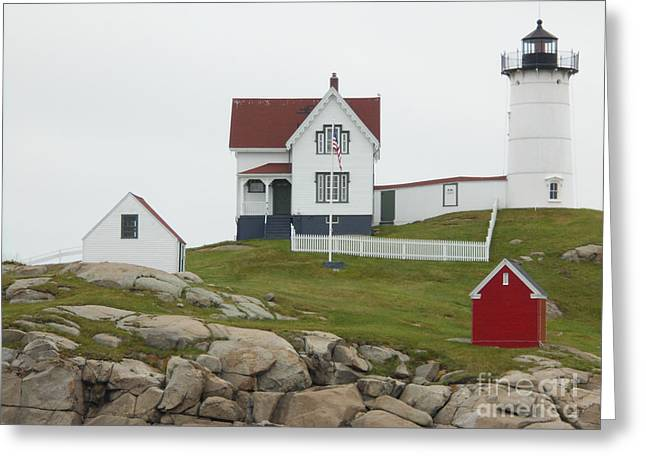 Ruth Housley Greeting Cards - Lighthouse in Maine Greeting Card by Ruth  Housley