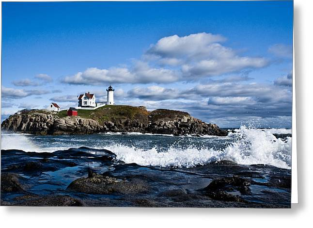 Lighthouse In Maine Usa 2 Greeting Card by Derek Latta