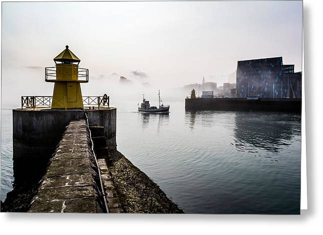 Foggy Day Greeting Cards - Lighthouse In Reykjavik Harbor, Harpa Greeting Card by Panoramic Images
