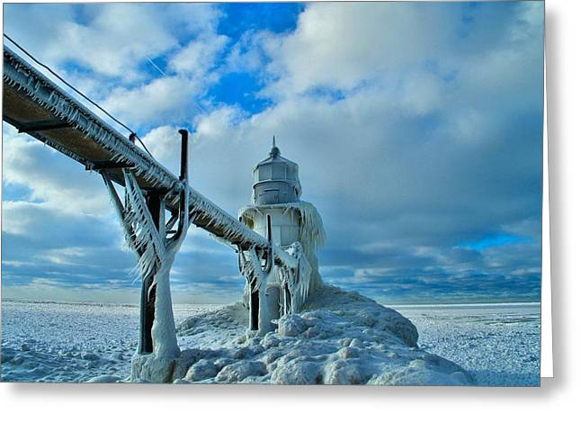 Saint Joseph Greeting Cards - Lighthouse In Saint Joseph Michigan Greeting Card by Dan Sproul
