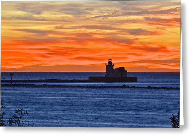 Wave Sublime Greeting Cards - Lighthouse in Silhouette Greeting Card by Frozen in Time Fine Art Photography