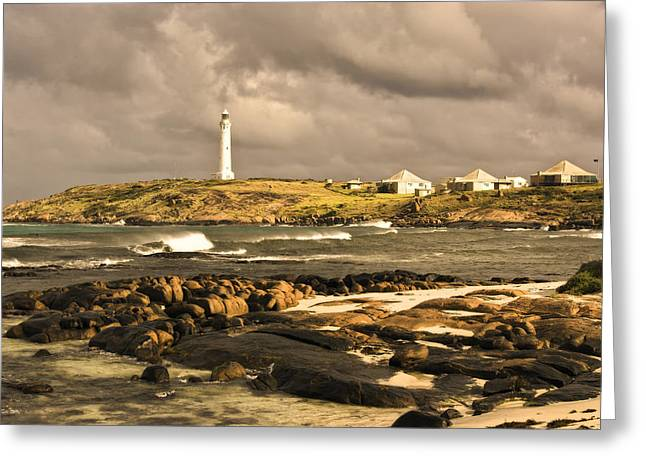 Niel Morley Greeting Cards - Lighthouse In Stormy Weather Greeting Card by Niel Morley