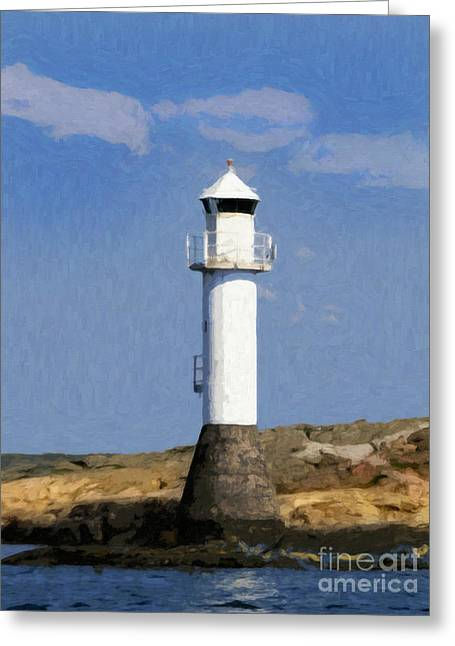 Lightscapes Greeting Cards - Lighthouse in Sunlight Greeting Card by Lutz Baar