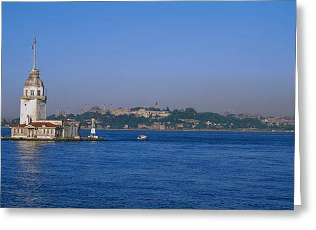 Istanbul Greeting Cards - Lighthouse In The Sea With Mosque Greeting Card by Panoramic Images
