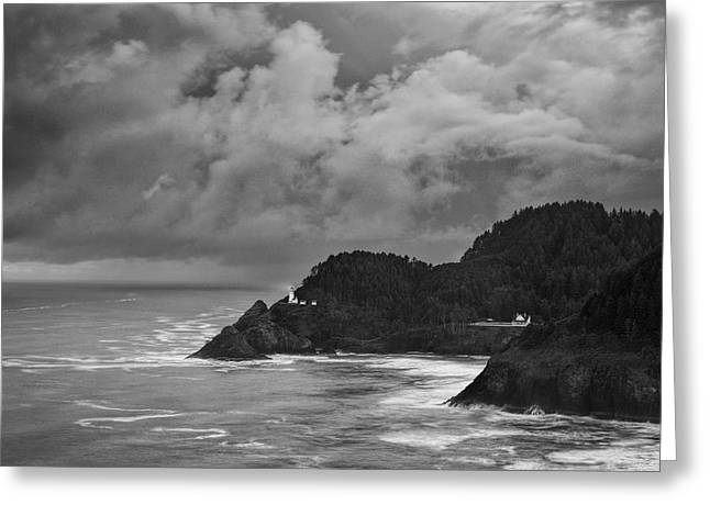 Lighthouse in the Storm Greeting Card by Andrew Soundarajan