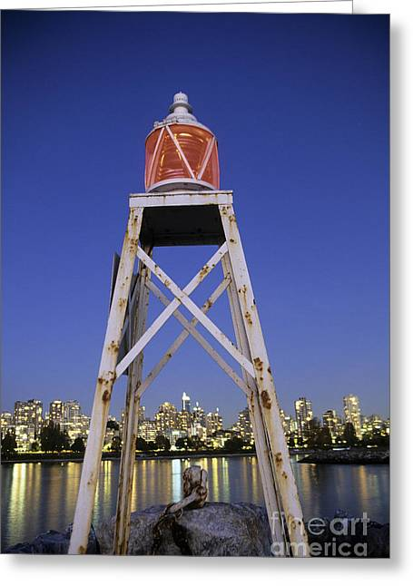 Burrard Inlet Greeting Cards - Lighthouse in Vancouver  Canada Greeting Card by Ryan Fox