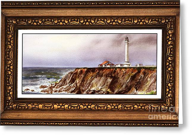 California Lighthouse Greeting Cards - Lighthouse In Vintage Frame Greeting Card by Irina Sztukowski