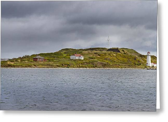 Grey Clouds Greeting Cards - Lighthouse Island Greeting Card by Betsy C  Knapp