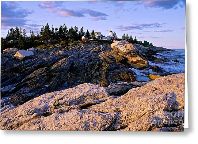Pemaquid Lighthouse Greeting Cards - Lighthouse Island Sunset Greeting Card by Sean Cupp