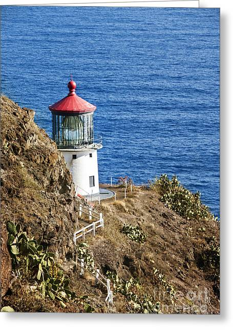 Tropical Island Greeting Cards - Lighthouse Greeting Card by Juli Scalzi