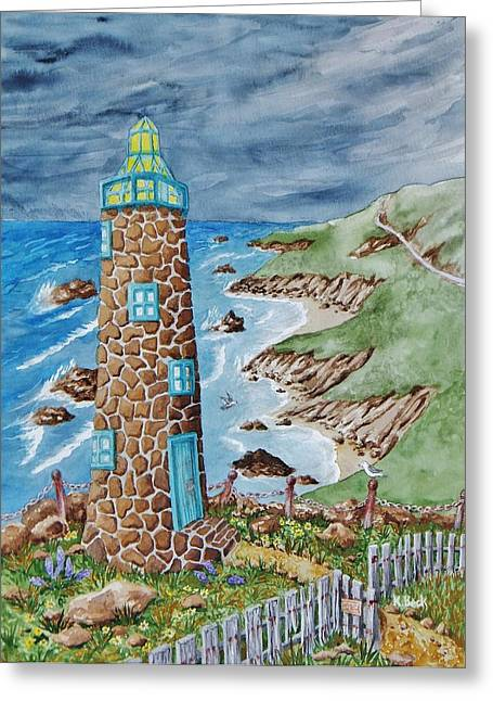 Storm Prints Paintings Greeting Cards - Lighthouse Greeting Card by Katherine Young-Beck
