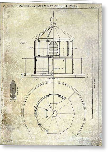 Old Boat Greeting Cards - Lighthouse Lantern Order Blueprint Antique Greeting Card by Jon Neidert