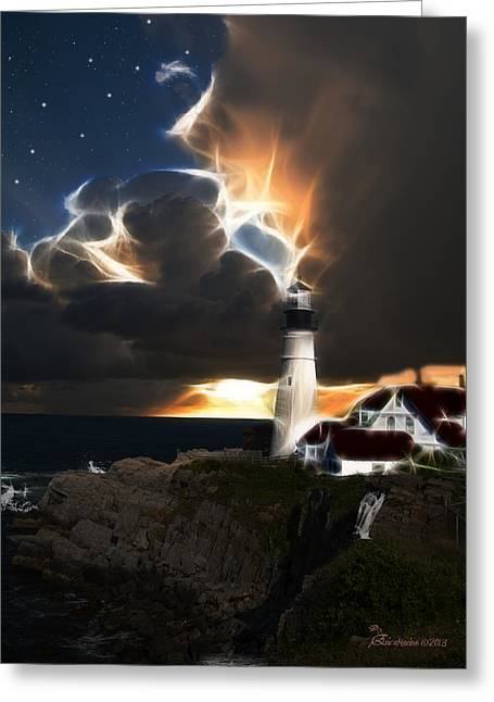 Photography Lightning Digital Greeting Cards - LIGHTHOUSE LIGHTS - Featured in Visions of the Night-Newbies and Comfortable Art Groups Greeting Card by EricaMaxine  Price