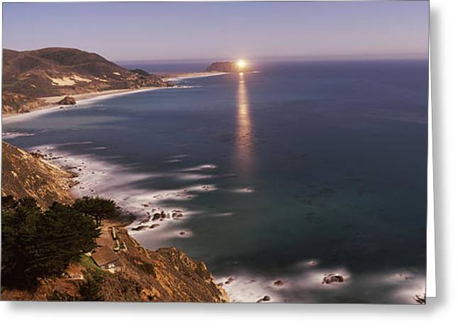Big Sur California Photographs Greeting Cards - Lighthouse Lit Up At Night, Moonlight Greeting Card by Panoramic Images