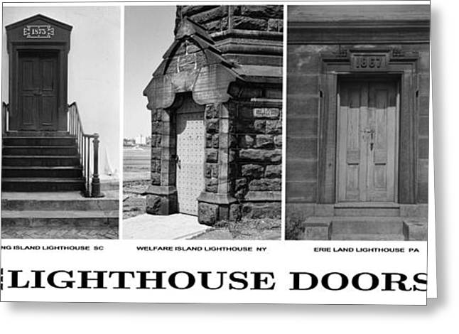 Entrance Door Greeting Cards - Lighthouse Main Entrance Doors Greeting Card by Daniel Hagerman