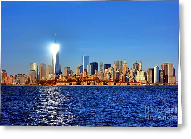 New Jersey Greeting Cards - Lighthouse Manhattan Greeting Card by Olivier Le Queinec
