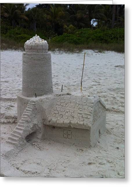Sand Castles Greeting Cards - Lighthouse  Greeting Card by Maria Carpio