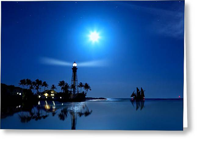 Lighthouse Moon Greeting Card by Mark Andrew Thomas