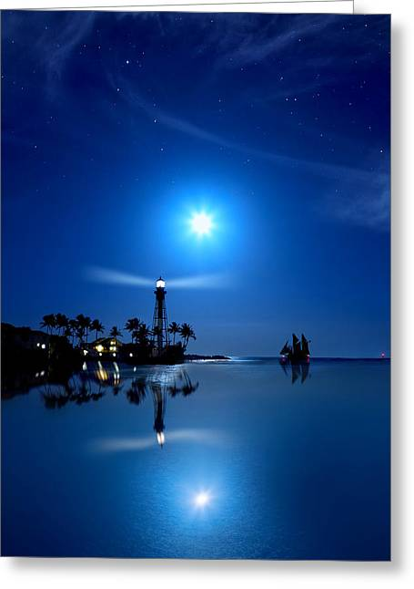Moonglow Greeting Cards - Lighthouse Moon Greeting Card by Mark Andrew Thomas