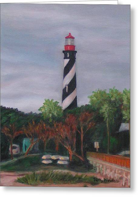 Lighthouse Morning Greeting Card by Patty Weeks