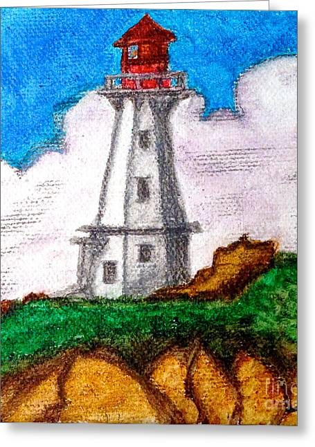 Lighthouse Nova Scotia Greeting Card by Anita Lewis