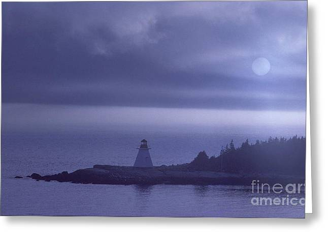 Sea Moon Full Moon Greeting Cards - Lighthouse Greeting Card by Novastock