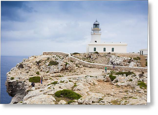 Mediterranean Landscape Pyrography Greeting Cards - Lighthouse of Caballeria Greeting Card by Antonio Macias Marin