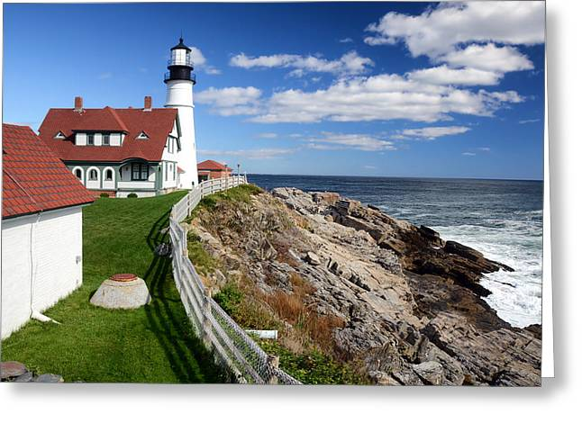 Maine Lighthouses Greeting Cards - Lighthouse of Portland Greeting Card by Mountain Dreams