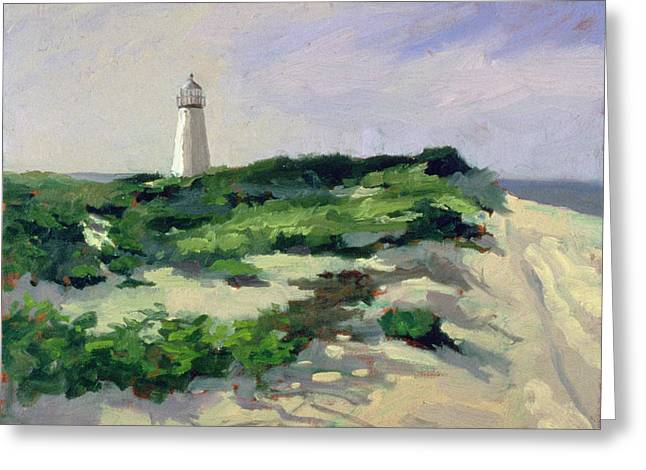 Beach Landscape Greeting Cards - Lighthouse Oil On Canvas Greeting Card by Sarah Butterfield