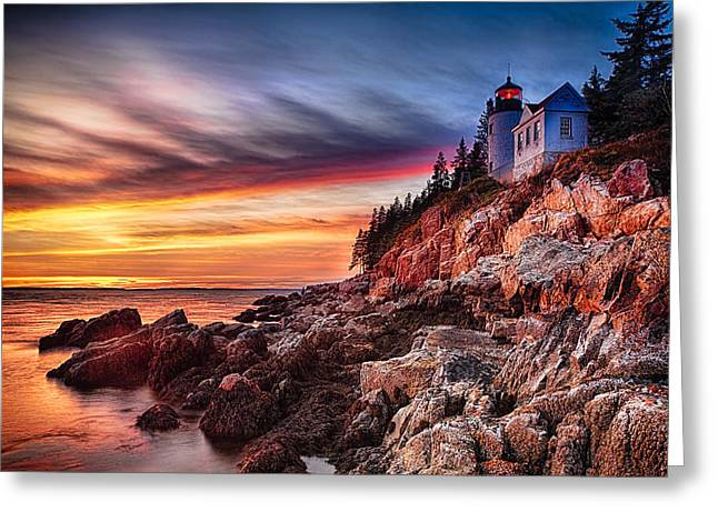 Bass Head Lighthouse Greeting Cards - Lighthouse on a Cliff at Sunset Greeting Card by George Oze