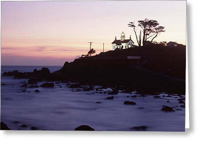 Crescent City Greeting Cards - Lighthouse On A Hill, Battery Point Greeting Card by Panoramic Images