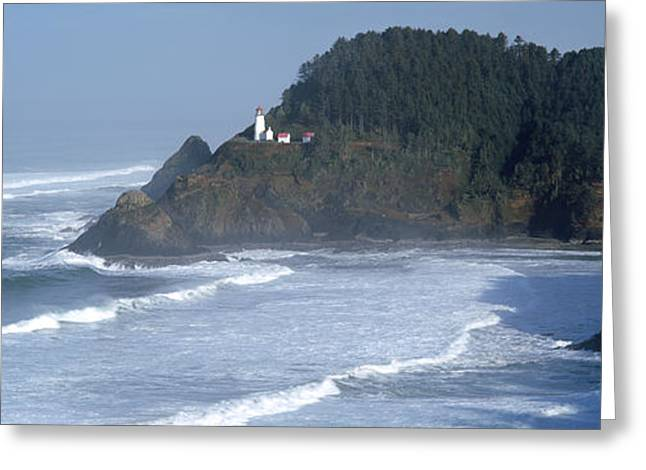 Horizon Over Water Greeting Cards - Lighthouse On A Hill, Heceta Head Greeting Card by Panoramic Images