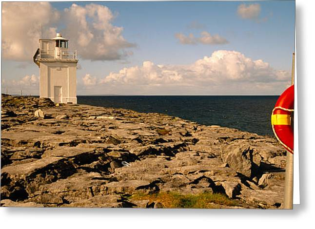 Clare Greeting Cards - Lighthouse On A Landscape, Blackhead Greeting Card by Panoramic Images