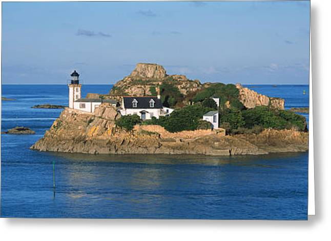 Chateau Greeting Cards - Lighthouse On An Island, Ile Louet Greeting Card by Panoramic Images