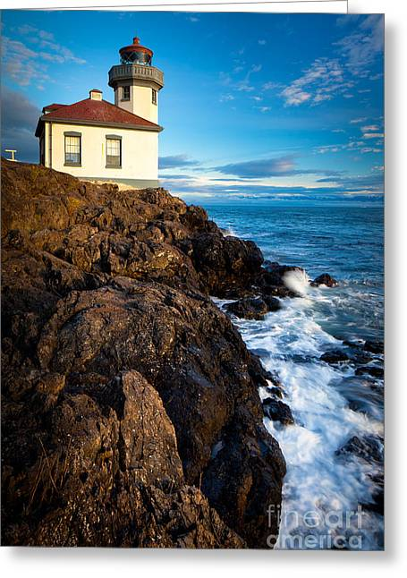 Kiln Greeting Cards - Lighthouse on Bluff Greeting Card by Inge Johnsson