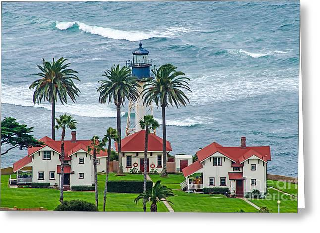 Habor Greeting Cards - Lighthouse on Point Greeting Card by Baywest Imaging