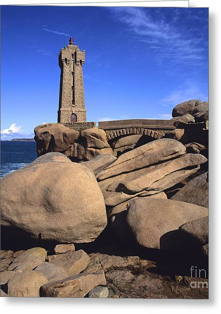 Emerald Coast Greeting Cards - Lighthouse on rocky seashore. Brittany. France Greeting Card by Bernard Jaubert