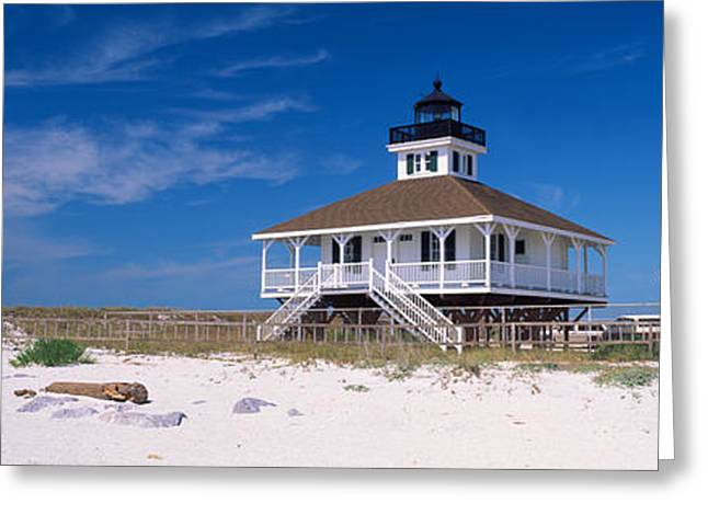 American Flag Photography Greeting Cards - Lighthouse On The Beach, Port Boca Greeting Card by Panoramic Images