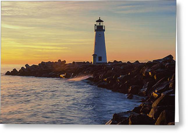 Lighthouse Photography Greeting Cards - Lighthouse On The Coast At Dusk, Walton Greeting Card by Panoramic Images