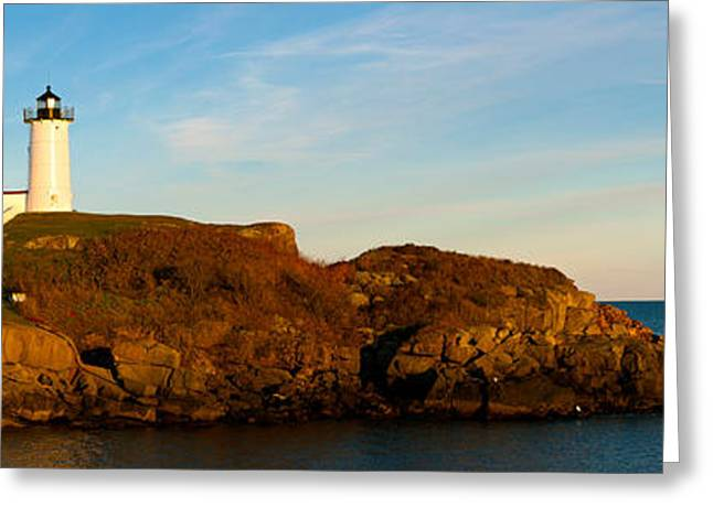 Cape Neddick Lighthouse Greeting Cards - Lighthouse On The Coast, Cape Neddick Greeting Card by Panoramic Images