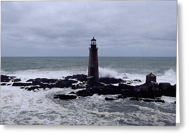 Overcast Day Greeting Cards - Lighthouse On The Coast, Graves Light Greeting Card by Panoramic Images