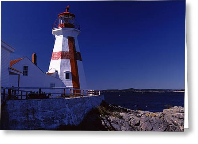 Head Harbour Lighthouse Greeting Cards - Lighthouse On The Coast, Head Harbour Greeting Card by Panoramic Images